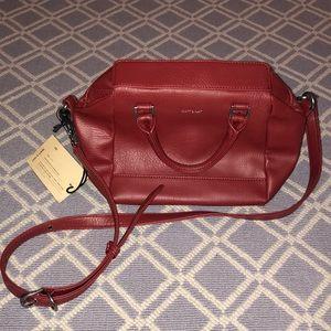 red vegan leather handbag